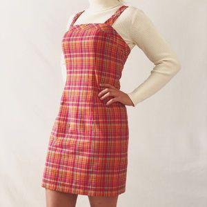*Vintage Moda Fitted Pink Plaid Schoolgirl Dress*